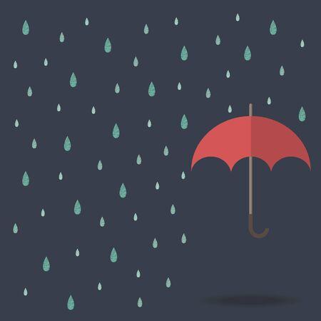 gotas de agua: fondo gota de lluvia con el paraguas rojo Vectores