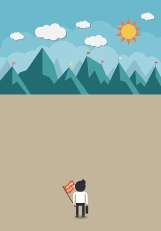 The man holding his bag and flag with never give up word will climb up to top of the mountain Vector