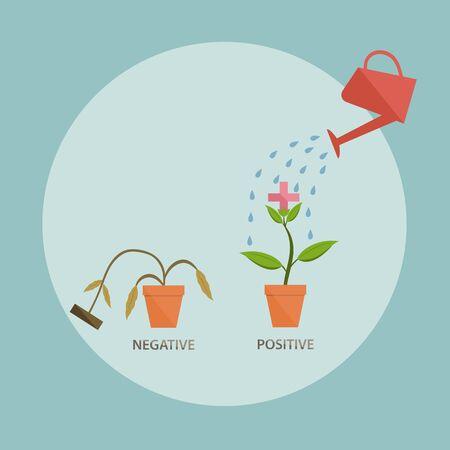 arboles secos: regar el brote positivo, el concepto de pensamiento positivo Vectores