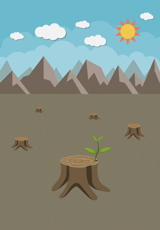 grown up: Stump with a green leaves Illustration