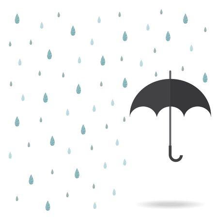 raindrop background with black umbrella Illustration