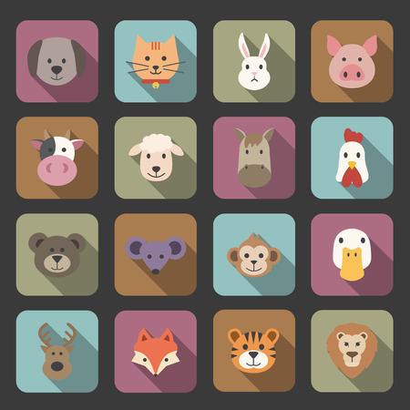 animal face set Stock Illustratie