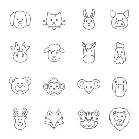mice: animal face set Illustration