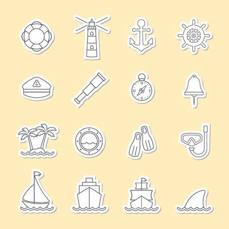 Marine et nautique icône de la ligne
