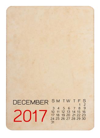 Calendrier de 2017 sur la vieille photo vide