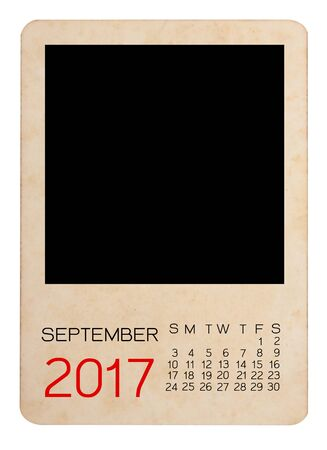 Calendar of 2017 on the Empty old photo Banque d'images