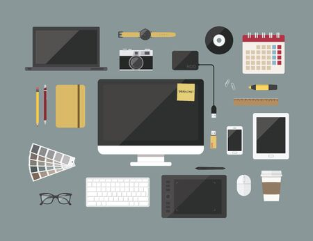 graphic designer items and tools,Flat design style