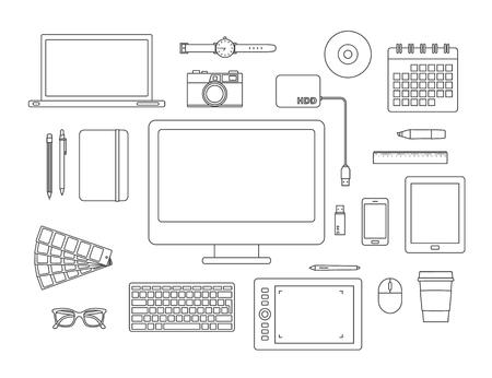 Ensemble d'icônes et outils de graphisme