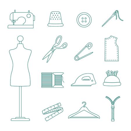 ensemble d'icônes de ligne de couture