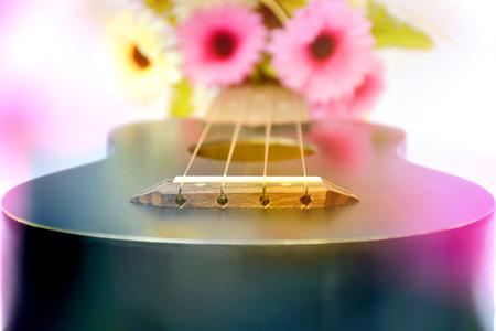 closeup of ukulele with colorful flower Stock Photo