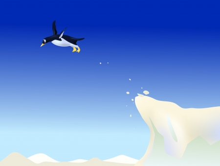 penguin jump from ice mountain