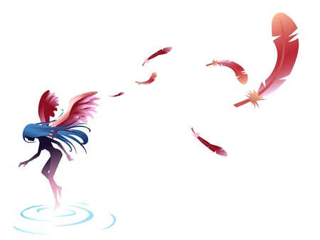 angel float with feather blow Vector