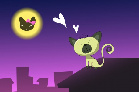 cat on roof in love Stock Vector - 17624049
