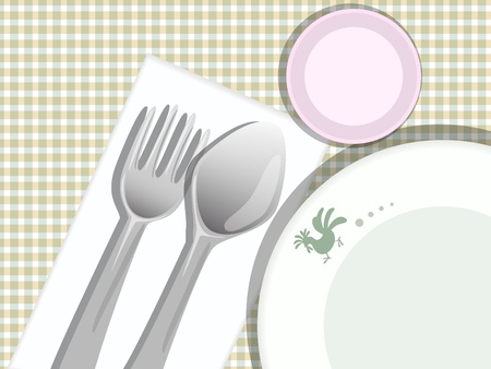 plate spoon fork glass on pattern Stock Vector - 17729494