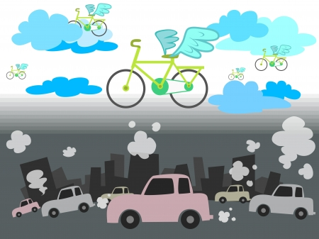 green bicycle over car smoke Illustration