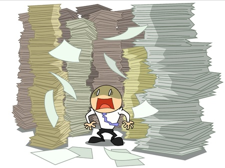businessman work hard over paper piles