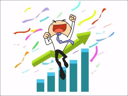 달성: 사업가 높은 목표에 성공 일러스트