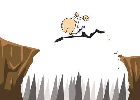 businessman jump over difficult chasm Stock Vector - 17894604