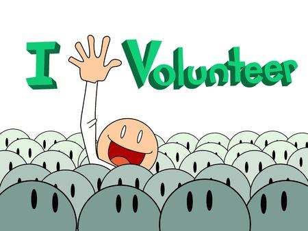 participation: man raise helpfull  hand for volunteer