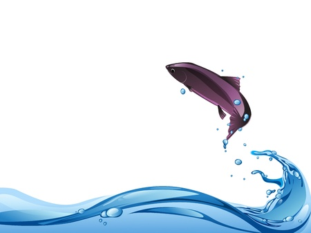 fish jump from water to air Stock Vector - 17894606