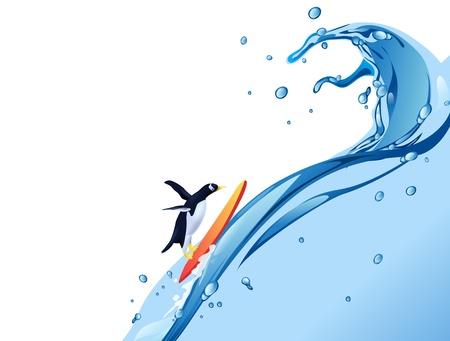 penguin surf on water splash