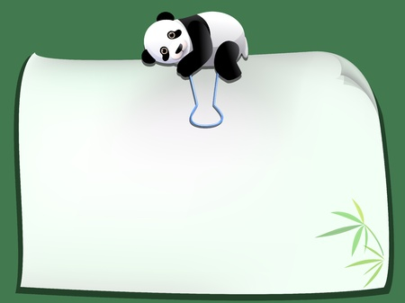 panda cartoon paper clip with blank paper Stock Vector - 17993041