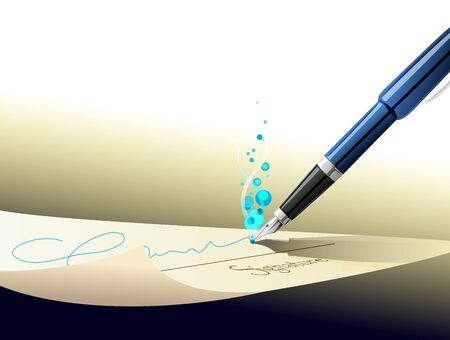 signing papers: pen signing signature on contract paper Illustration