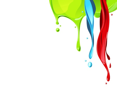 paint drips: red , blue, green color fluid flow from above