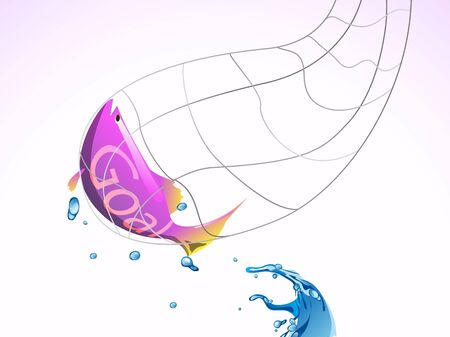 goal fish catch in fishing net from water Illustration