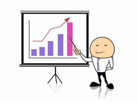 business man point at graph chart on projector screen photo