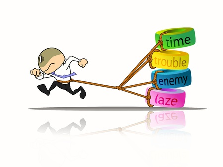 laze: businessman running away from time, trouble, enemy and laze Stock Photo