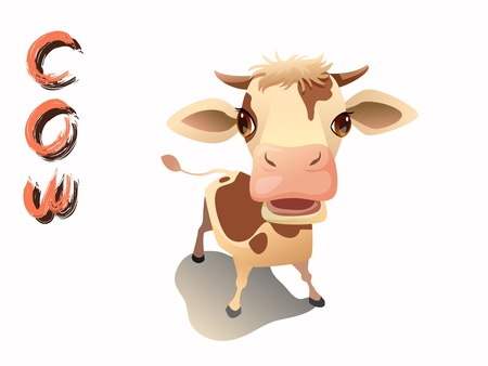 cute cow cartoon vactor standing on white background