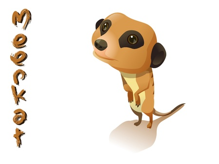 cute meerkat cartoon  standing on white background Illustration