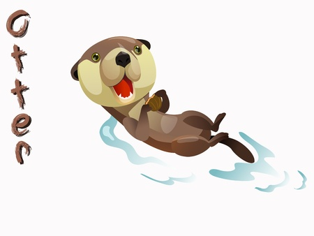 sea otter: cute otter cartoon vector standing on white background