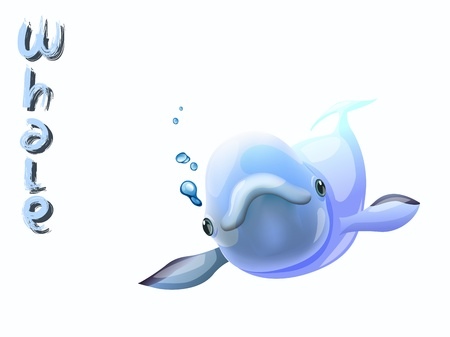 cute whale cartoon vector standing on white background