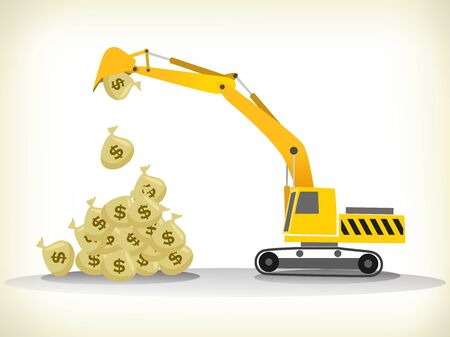 debt collection:  loading money bags with excavator lifting