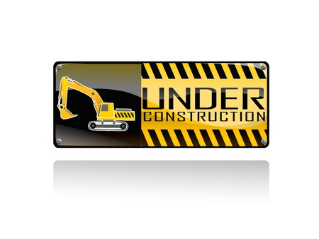 Excavator and under conctruction sign on white background Stock Vector - 18513573