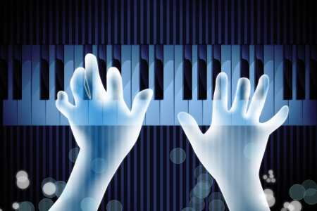 transparency hand playing piano on dark blue background