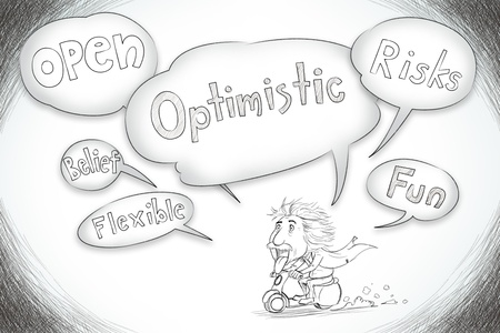Optimism concept in word tag bubble photo