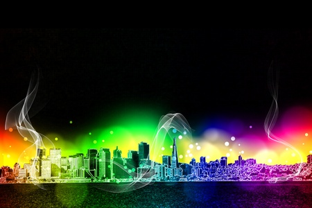 neon city colorful  light effect design Stock Photo - 18787663