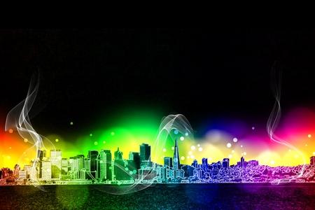 neon city colorful  light effect design Stock Photo - 18787663