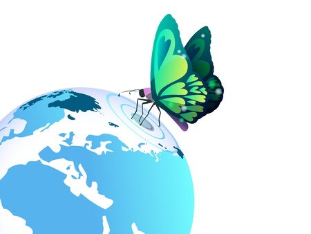 Butterfly on planet Earth,fantacy Vector