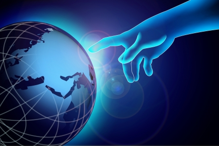 transparency hand pointing down to the globe photo
