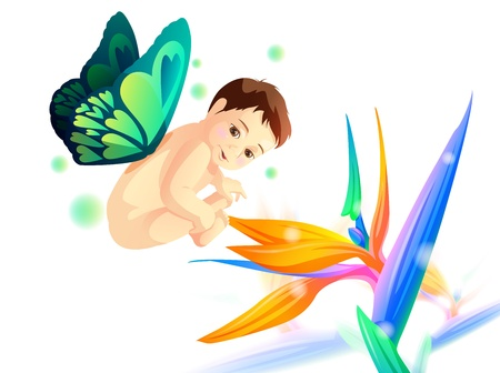 baby with butterfly wing fly over flower Illustration