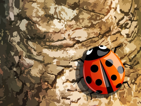 ladybug on tree trunk ,vector Vector