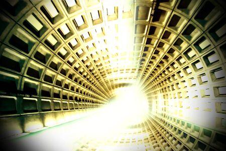 tunnel di luce: luce alla fine del tunnel Archivio Fotografico