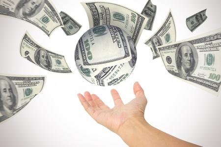 money sphere: money gather to sphere shape in hand,dollars