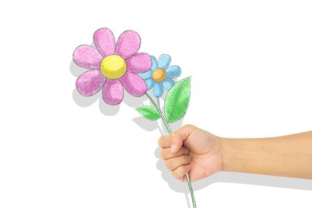 flowers crayon  drawing in hand. Isolated over white background Stock Photo