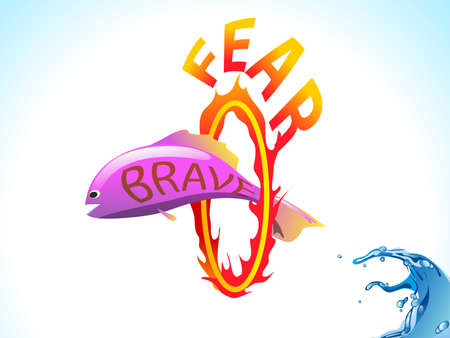 fish jump through the fire loop,business concept,brave over fear