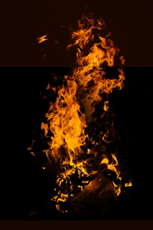 fire isolated over black background photo